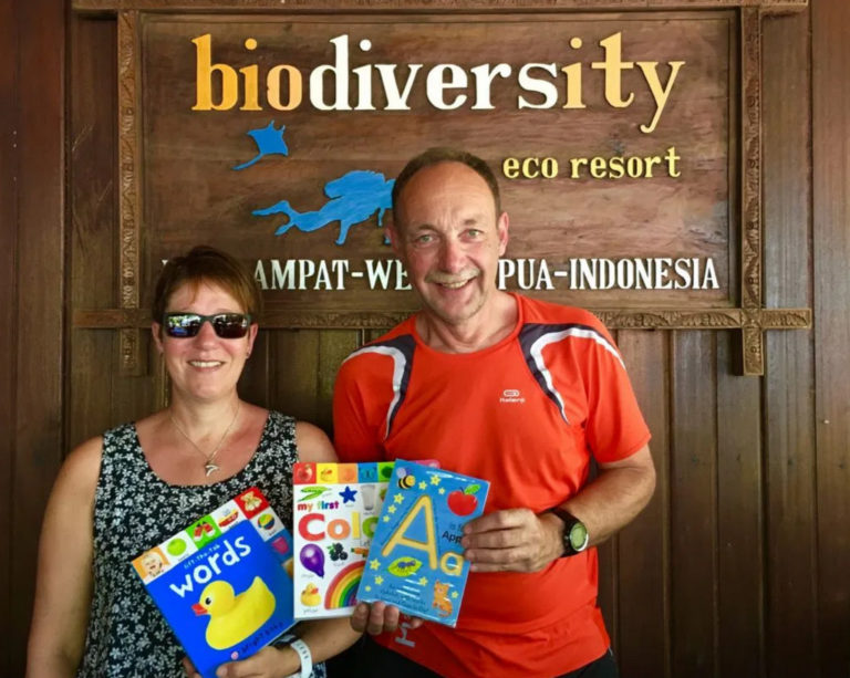 Based on our desire to Improve the welfare of the people around us by increasing their knowledge and education, Biodiversity launched the book project, by encouraging guests to donate English textbooks, no matter old or new, when visiting Raja Ampat.  Biodiversity managed to raise a significant number of books not easily available in Indonesia,  The face of the children just by looking the colorful pages of this books is rewarding, and keeps motivating us to help supporting their education and offering materials that otherwise are not at their reach.