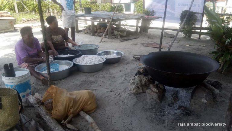 Palmöl ist ein Synonym für die Verschlechterung des natürlichen Lebensraums des jetzt vom Aussterben bedrohten Orang-Utan. Die beste Alternative zu Palmöl ist Kokosnussöl. Wir haben ein Projekt durchgeführt, um hausgemachtes Kokosnussöl von den Frauen unseres Nachbardorfes Yenbeser zu kaufen. Sie verdienen ihr eigenes Einkommen mit leicht verfügbaren natürlichen Ressourcen und produzieren ein Produkt, das nicht nur gut ist für ihre Gesundheit und ihr Einkommen, sondern auch für die Umwelt!  Wir haben eine Kokosnussmühle für den allgemeinen Gebrauch im Dorf bereitgestellt. Jetzt haben alle Frauen im Dorf Yenbeser die Möglichkeit, ihr eigenes reines Bio-Kokosöl herzustellen. Das Öl wird von den Frauen an lokale Unternehmen verkauft (und an Biodiversity!).